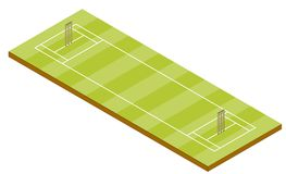 Cricket Pitch - Isometric View. A cricket pitch in isometric 3D view Stock Photo