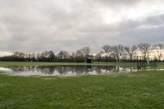 Cricket Pitch And Rugby Club Field Flooded 3rd April 2018 Wath Up. Cricket Pitch And Rugby Club Field Flooded In Wath Upon Dearne, Rotherham, South Yorkshire Royalty Free Stock Image