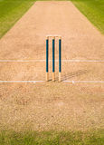 Cricket Pitch Wicket Stumps. Ground level view of one end of  a cricket pitch, showing the wicket, stumps, bails, creases and part of the infield. Edgbaston Stock Images
