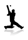 Cricket player in action silhouette Royalty Free Stock Photo