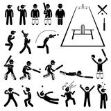 Cricket Player Actions Poses Cliparts Royalty Free Stock Images