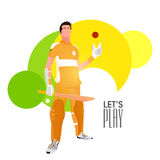 Cricket Player with bat and ball. Royalty Free Stock Photography