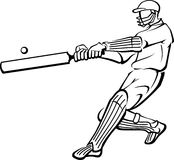 Cricket Player Bat Swing Outline Royalty Free Stock Image