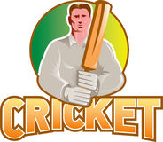 Cricket player batsman with bat front view Stock Photography