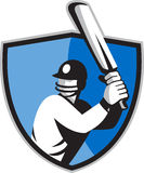 Cricket player batsman with bat shield Royalty Free Stock Photo