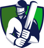 Cricket player batsman with bat shield Stock Images