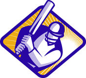 Cricket player batsman batting Stock Image