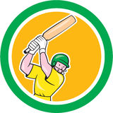Cricket Player Batsman Batting Circle Cartoon Stock Image