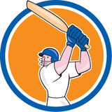 Cricket Player Batsman Batting Circle Cartoon Stock Photos