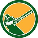 Cricket Player Batsman Batting Circle Retro Stock Images