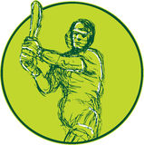 Cricket Player Batsman Batting Drawing Royalty Free Stock Images