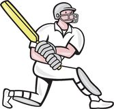 Cricket Player Batsman Batting Kneel Cartoon Stock Photo
