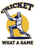 Cricket player batsman batting retro Royalty Free Stock Photos