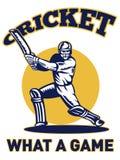 Cricket player batsman batting retro Royalty Free Stock Photos