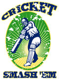 Cricket player batsman batting retro Stock Photos