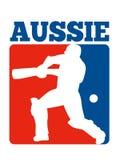 Cricket player batsman batting retro Australia Royalty Free Stock Images