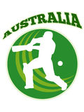 Cricket player batsman batting retro Australia Stock Photography