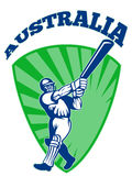 Cricket player batsman batting retro Australia Stock Photo
