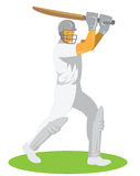 Cricket Player Batsman Batting Retro Stock Images