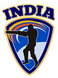Cricket player batsman batting retro India Royalty Free Stock Photos