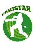 Cricket player batsman batting retro Pakistan Stock Photo