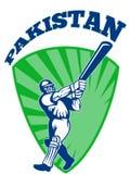Cricket player batsman batting retro Pakistan Royalty Free Stock Photo