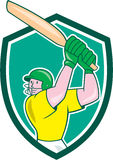 Cricket Player Batsman Batting Shield Cartoon Stock Images