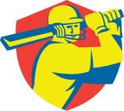 Cricket Player Batsman Batting Shield Retro Royalty Free Stock Image