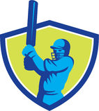 Cricket Player Batsman Batting Shield Retro Royalty Free Stock Photos