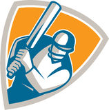 Cricket Player Batsman Batting Shield Retro Stock Photography