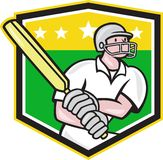 Cricket Player Batsman Batting Shield Star Stock Images