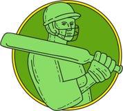 Cricket Player Batsman Circle Mono Line Royalty Free Stock Images
