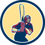 Cricket Player Batsman Circle Retro Royalty Free Stock Image