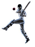 Cricket player batsman silhouette. Cricket player batsman in silhouette shadow on white background stock photo