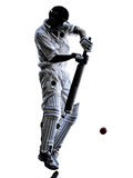 Cricket player batsman silhouette. Cricket player batsman in silhouette shadow on white background stock photography