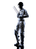 Cricket player  batsman silhouette Royalty Free Stock Photography