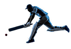 Cricket player batsman silhouette. Cricket player batsman in silhouette shadow on white background stock image