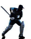Cricket player batsman silhouette. Cricket player batsman in silhouette shadow on white background royalty free stock photo