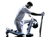 Cricket player  batsman silhouette Royalty Free Stock Image