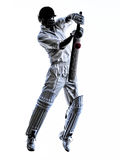 Cricket player batsman silhouette. Cricket player batsman in silhouette shadow on white background royalty free stock images