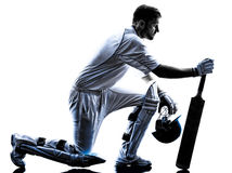 Cricket player  batsman silhouette Stock Photo