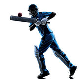 Cricket player batsman silhouette. Cricket player batsman in silhouette shadow on white background royalty free stock photography