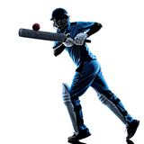 Cricket player batsman silhouette. Cricket player batsman in silhouette shadow on white background royalty free stock image