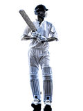 Cricket player  batsman silhouette Royalty Free Stock Photography