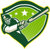 Cricket Player Batsman Star Crest Retro Stock Photos
