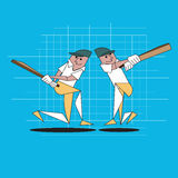 Cricket. Player with  batsman< vector illustration Royalty Free Stock Images