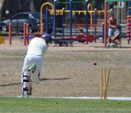 Cricket player bowled. Cricketer being bowled middle stump Stock Images