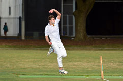 Cricket player bowler reaches his delivery stride Royalty Free Stock Photos