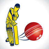 Cricket player hit the ball. Stock royalty free illustration