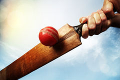 Cricket player hitting ball Stock Photography